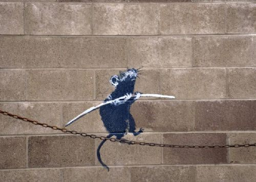 BANKSY - BALANCING RAT canvas print - self adhesive poster - photo print